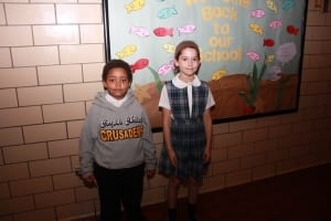 Kindergartner Daniel Burger, Second grader Emily Ross